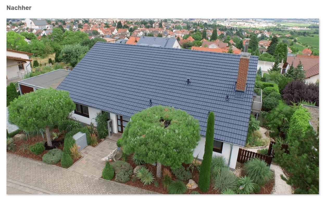 Dach Nachher aus 55116 Mainz: Dachversiegelung, saubere Oberfläche, Ziegel in neuer Farbe, Mehr Lebensdauer