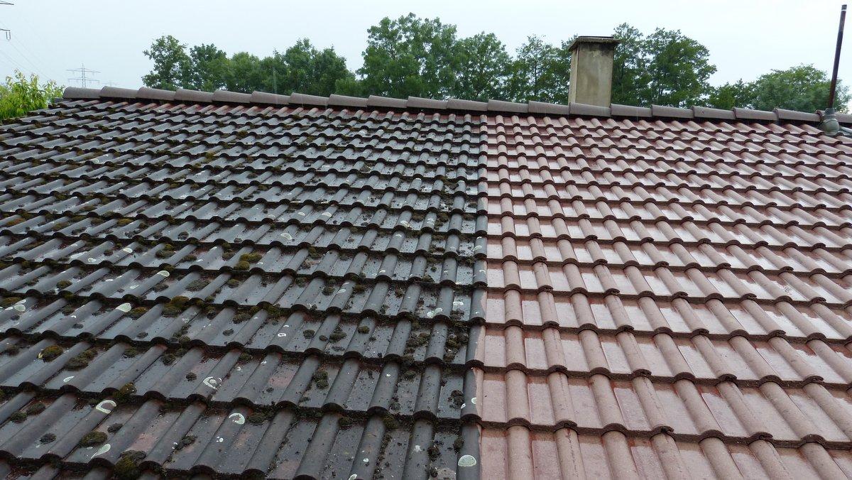 Dachbeschichtung Vorher / Nachher